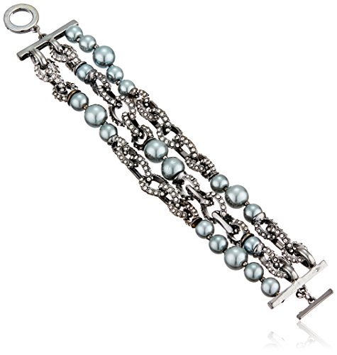 Anne Klein Hematite-Tone Pearl and Black Diamond Three Row Toggle Link Bracelet