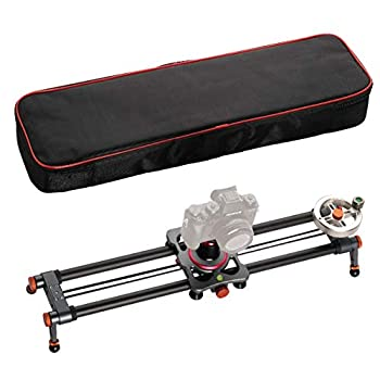 Image of Camera Sliders ANNSM 24 inch/60 CMs Carbon Fiber Rail Camera Slider with 1/4 inch Screw Mount Belt Pulley Flywheel Driving Length Adjustable Legs, Carry-on Bag Loading up to 18lbs /8Kgs for DSLR Cameras/Camcorders