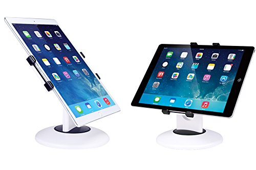 "Business Retail Tablet Stand, 360° Rotation Tablet Mount Holder for iPad and Most 7.9"" -13"" Tablet, Swivel Design Perfect for Commercial Store Office Showcase POS Reception Kitchen Countertop , White (Mini Stand Swivel Ipad)"