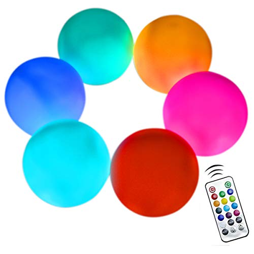 Aokely Floating Pool Lights 6pack 3.1' RGB Color Changing Remote Control Pool Balls Battery Operated IP68 Waterproof LED Ball Lights, Pefect for Pool\Pond\Party\Garden Decoration