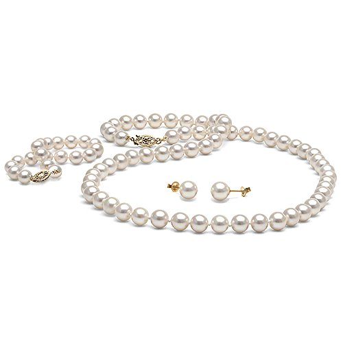 14K Cultured White Freshwater Pearl 3-Piece Jewelry Set, 7.5-8.0mm - AAA Quality, 18-Inch Necklace, Yellow Gold by Pure Pearls