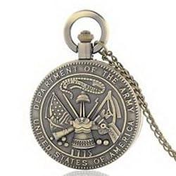 Pixle Pocket Watch - Antique US Army Vintage Quartz Pocket Watch Chain Pandent Necklace Mens Gift New