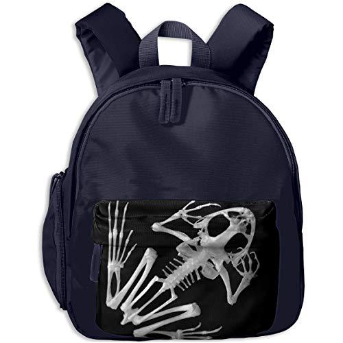 Halloween Black And White Skeleton Frog Children Backpack Pocket Zipper Outdoor Travel School Book Bag