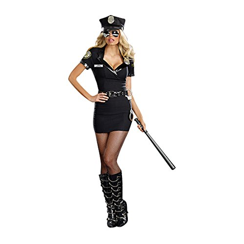 Dreamgirl Women's Dirty Cop Officer Anita Bribe Costume, Black, Small