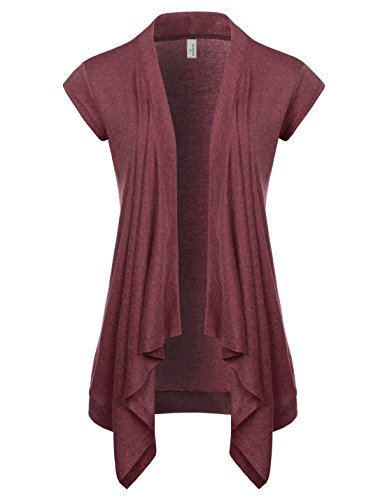 NEARKIN (NKNKWCD692S) Women Daily Casual Slim Cut Look Short Sleeve Open Front Cardigans WINE US M(Tag size L) by NEARKIN
