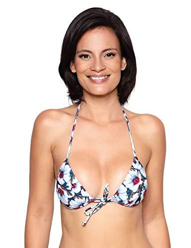 RELLECIGA Women's White Floral Push up Triangle Bikini Top Size Medium ()