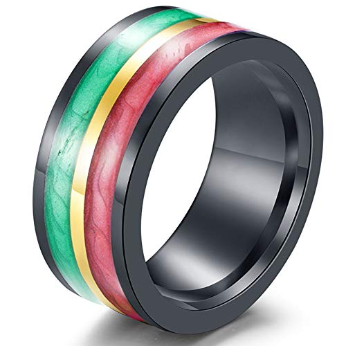 (Fashion Month Mens Womens 10mm Stainless Steel Green Red Enamel Two Color Wedding Band Engagement Black Lady Ring Size 12)