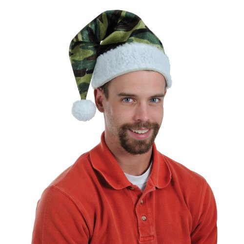 Velvet Camo Santa Hat w/Plush Trim Party Accessory (1 count) (1/Pkg)
