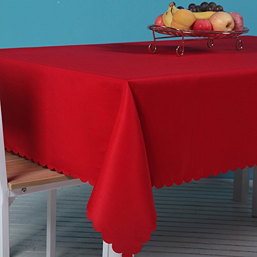 Zipway Rectangle 100% Polyester Tablecloth Red,60x102inch ()
