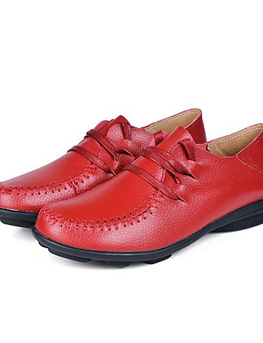 oxfords plano comfort uk6 cn40 us8 EU38 5 eu39 Giallo UK5 mujer CN38 casual marrón 5 Rosso marrone tacón ZQ 5 cuero di 5 Scarpe Rosso US7 nOUXaqwxIY