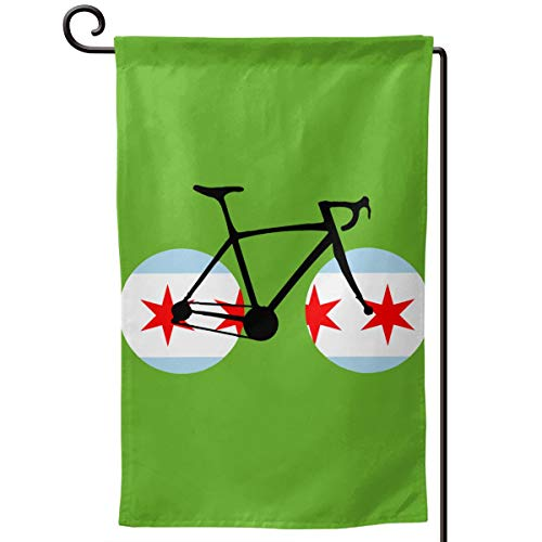 Chicago Flag Bicycle Graphic Outdoor/Home Decorative Flag Wedding Anniversary Garden Flag 12.5