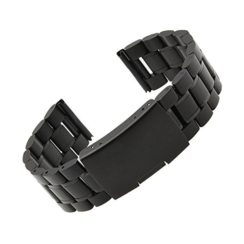 Band Scrolled - Moto 360 2 Watch Band (2nd Gen, 46mm 2015), Threeeggs 22mm Stainless Steel Watch Strap Adjustbable Bracelet Band for Motorola Moto 360 2 46mm Smart Watch (B - Black)