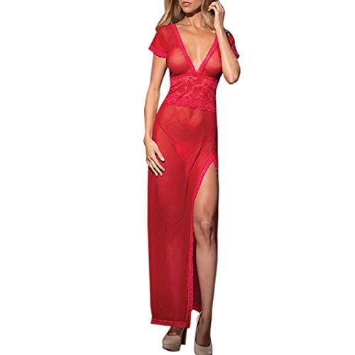 Lavany Women Lingerie,Deep V Lace Lingerie Long Cheongsam Side Split Gown for Women (Red)