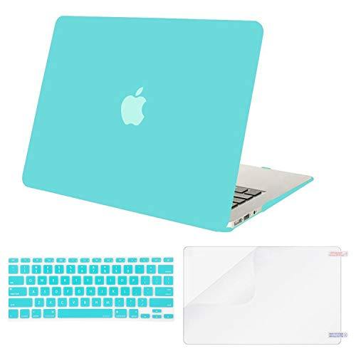 MOSISO Plastic Hard Shell Case & Keyboard Cover Skin & Screen Protector Only Compatible with MacBook Air 11 inch (Models: A1370 & A1465), Turquoise
