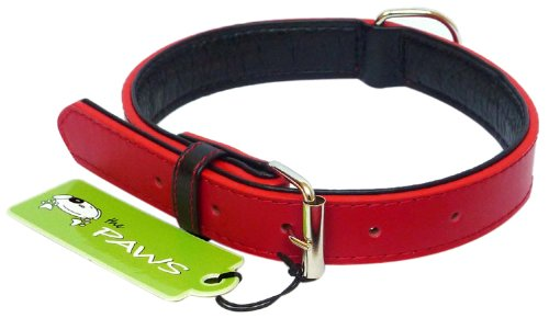The Paws Colour Fusion Leather Collar, S, 40 cm, Red