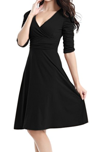 4 Manga Fiesta Elegante DELEY Retro 3 Mujer Dress Cóctel Casual V Vestido Negro Cuello Bq8wwP0