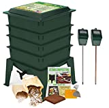 Worm Factory 360 Composting Bin + Moisture and pH Testing Meter Worm Farm Kit (Green)