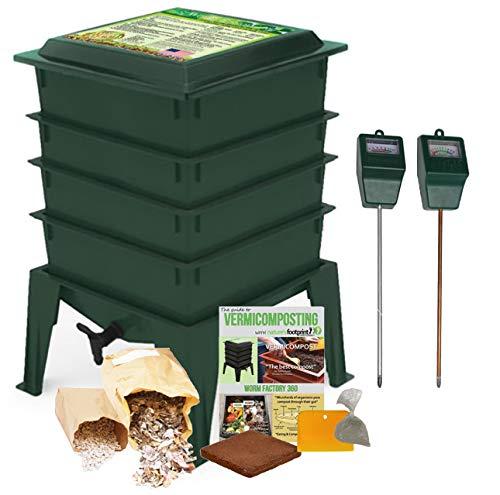 Worm Factory 360 Composting Bin + Moisture and pH Testing Meter Worm Farm Kit - Bin Worm System