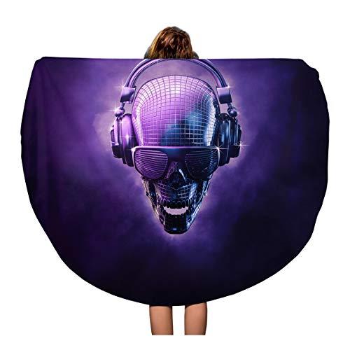 Pinbeam Beach Towel Disco Ball Skull 3D of Shaped Mirror Headphones Travel 60 inches Round Tapestry Beach Blanket ()
