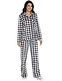 Women's Long Sleeve Minky Fleece Pajama Set PJ with Socks