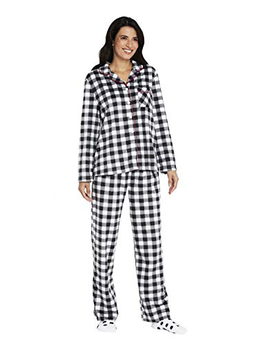Karen Neuburger Women's Long Sleeve Minky Fleece Pajama Set PJ, Buffalo Plaid Black/White, L