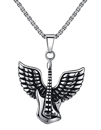Stainless Steel Angel Wing Guitar Pendant Necklace, Unisex, 21
