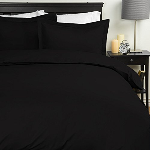 Sweet Home Collection Egyptian Quality 3-Piece Duvet Set, Black, Full/Queen