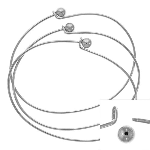 Silver Plated Wire Beading Bracelet with Ball - Add A Bead (3 Bracelets)