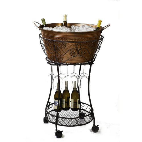 Image of Bar Tools & Drinkware Cape Craftsmen Evergreen Hammered Faux Copper Chiller with Wine Glass Storage and Shelf