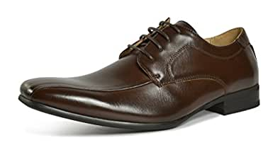 Bruno MARC GORDON-05 Men's Formal Classic Snipe Toe Lace Up Leather Lining Oxford Dress Shoes Dark Brown Size 6.5