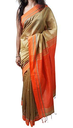 Mehrunnisa Handloom BAHA Sarees with Blouse Piece from Kolkata (Golden & Orange)