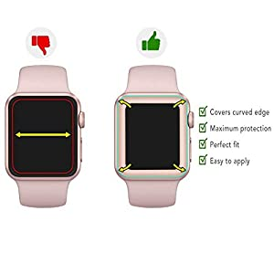For Apple Watch Screen Protector 42mm, For iWatch Tempered Glass Screen Protector, Anti-Scratch Full Coverage 3D Curved Edge Glass Screen Film for Apple iWatch 42mm Series 1/2/3 by AsianiCandy