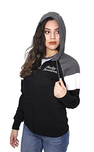 Harley-Davidson Womens Nomadic Roots Raglan Fleece Full Zip Black Hoodie (Large) (Retro Hoody Womens Zip)