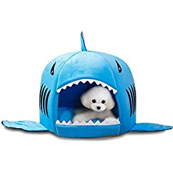 "Nmch Dog or Cat Bed, Tent Bed for Pets, Shark Pet House for Max 4kg Pets, Cozy Winter Necessity (16 x 16"" (M), Blue)"