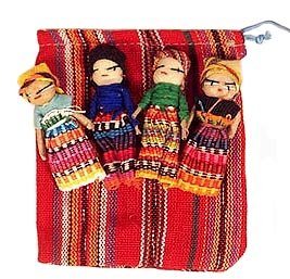 - Four Large Worry Dolls with Pouch