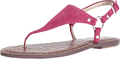 Sam Edelman Women's Greta Pink Garnet Kid Suede Leather Sandal