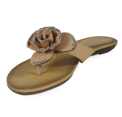 Shoes Womens On Ladies LoudLook Sandals Flat Colours Silver Girls UK Nude New Slippers 8 Home Slip 3 Size 3 Flower 7X5qq4x