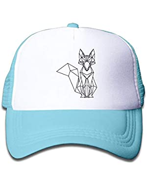 Geometric Wolf 1 On Kids Trucker Hat, Youth Toddler Mesh Hats Baseball Cap