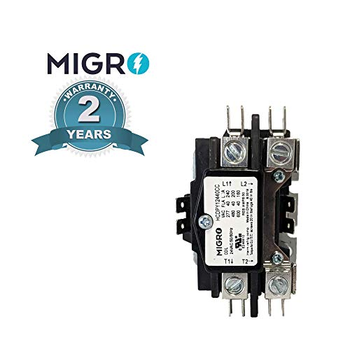 Migro 1 Pole 40 AMP Heavy Duty AC Contactor Replaces Virtually All Residential 1 Pole Models C140A Equivalent (2- Year Warranty Silver Alloy Content Contactors)