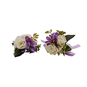 Abbie Home Wedding Wrist Corsage Brooch Boutonniere Set Party Prom Hand Flower Decor 29