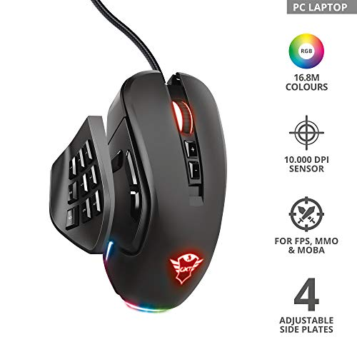 Trust Gaming GXT 970 Morfix Ratón para Gaming Personalizable (MMO, 10 000 PPP, 4 Piezas Laterales Intercambiables…