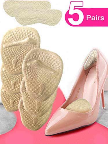 (Heel Cushion Inserts (5 Pairs: 10 Pieces) - Ball of Foot Cushions -Shoe Inserts –heel pads- Metatarsal Pads for Women- High Heel Inserts for Women –shoes too big - for Pain Relief from Neuroma, Bunion)