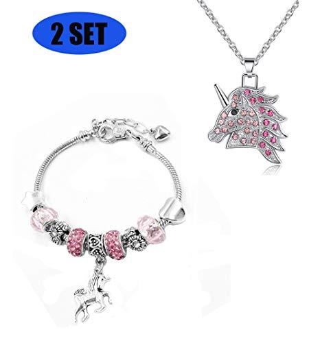 JACKY CHARMING Pink Unicorn Crystal Zircon Necklace and Charm Bracelet Bangle Set for Women Girls Jewlery Birthday Gift from JACKY CHARMING