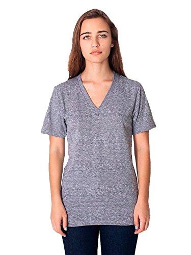 American Apparel Unisex Tri-Blend Short Sleeve V-Neck - Athletic Grey - -
