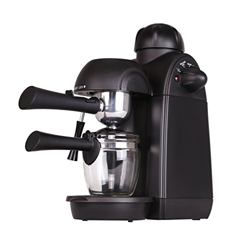 Coffee Maker, 4 Cup Stainless Steam Espresso Espresso Cappuccino Latte Coffee Machine with Milk Frother and Carafe, Carafe Included by Lambow