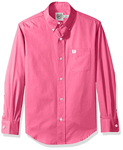 (Cinch Boys' Big Classic Fit Long Sleeve Button One Open Pocket Solid, Dark Pink, S)