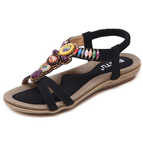 SHIBEVER Summer Flat Gladiator Sandals for Women Comfortable Casual Beach Shoes Platform Bohemian Beaded Flip Flops Sandals Black-3 4.5