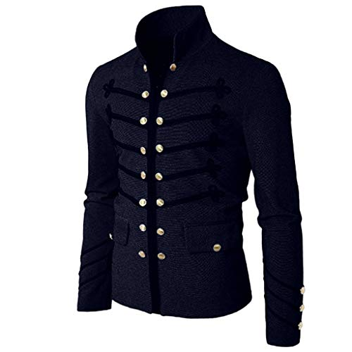 Men Gothic Vintage Jacket Double Breasted Formal Gothic Victorian Coat Costume (M, Navy)]()