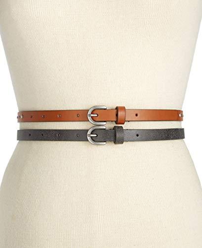 Style&co Women's Rhinestone & Stud 2-for-1 Skinny Belts, Black/Cognac (Medium)