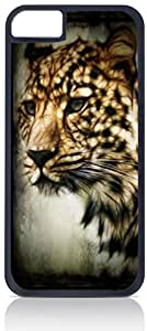 Cheetah Art - Case for the Apple Iphone 4-4s Universal- Hard Black Plastic with Inner Soft Black Rubber Lining-Snap On Case